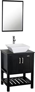 Eclife 24 inch Modern Bathroom Vanity Units Cabinet And Sink Stand Pedestal with White Square Ceramic Vessel Sink with Chrome Bathroom Solid Brass Faucet and Pop Up Drain Combo A07B06