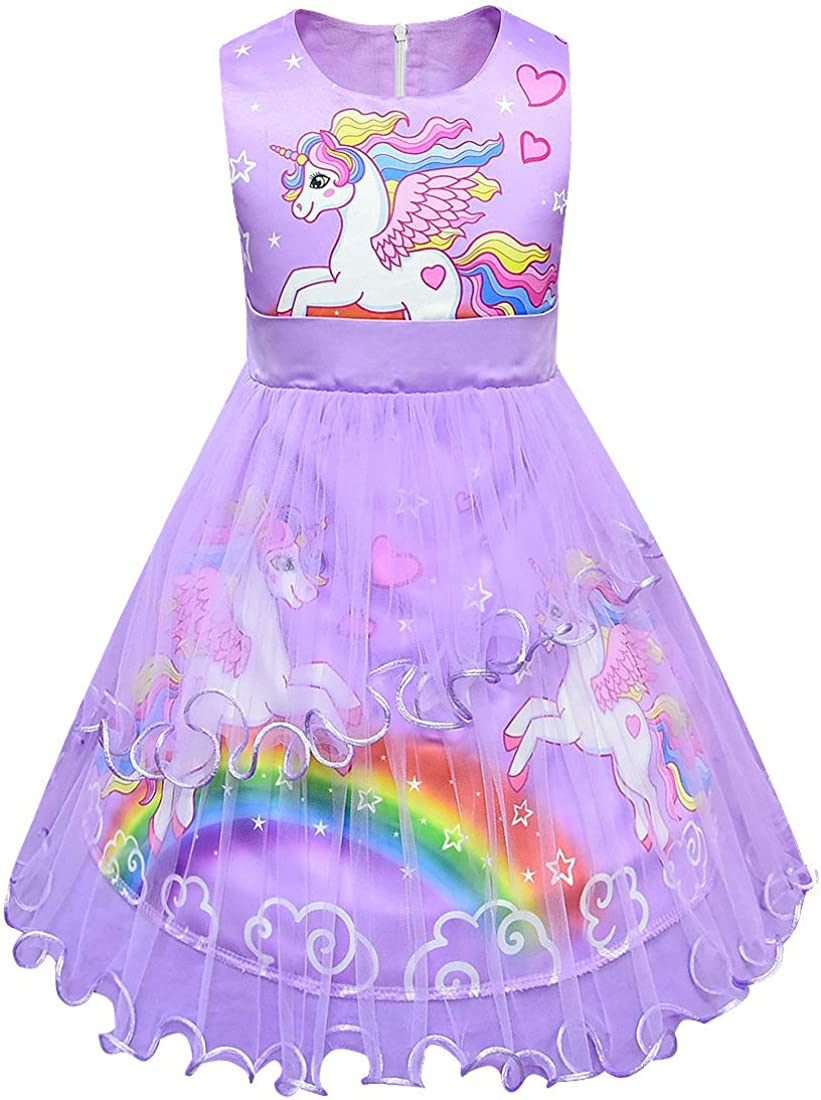 LEMONBABY Unicorn Sleeveless Princess Birthday Manufacturer OFFicial shop Party Inventory cleanup selling sale Dress