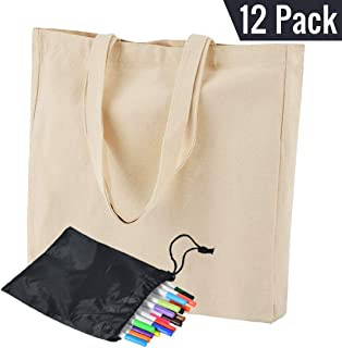 Heavy Duty Canvas Tote Bags (12 Pack) with Bottom Gusset 16 x 15 x 4 inch Durable 12oz Eco-Friendly Shopping Bag, Crafting Bag, Washable Bag Reusable Bag - BONUS 20 Fabric markers for Decorating
