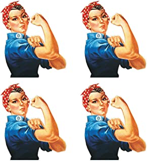 dealzEpic - Die Cut Rosie The Riveter We Can Do It Feminist Sticker - Self Adhesive Peel and Stick Vinyl Decal - 3.94 x 3.35 inches | Pack of 4 Pcs