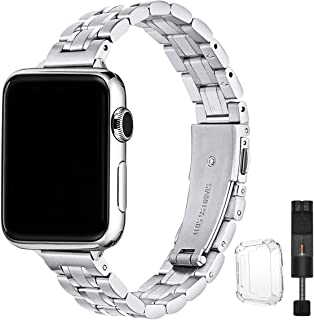STIROLL Thin Replacement Band Compatible for Apple Watch 38mm 40mm 42mm 44mm, Stainless Steel...