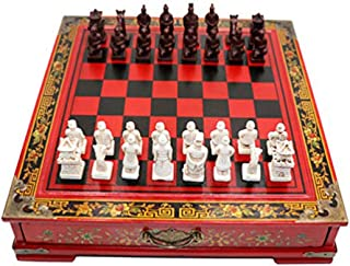 IADUMO Classic Family Chess Board Game Retro Terracotta Warriors Chess Set Wooden Chessboard and 3D Resin Chessman Pieces ...