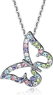 Andyle Charm Butterfly Multi-Color Crystal Chain Pendant Necklace Fashion Gift for Women Girls