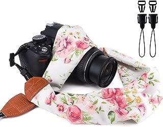 Elvam Universal Men and Women Scarf Camera Strap Belt Compatible for All DSLR Camera, SLR Camera, Instant Camera and Digital Camera - White Green Floral Pattern