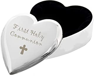 C.P.M. Boîte à bijoux en forme de cœur Gravure 1st First Holy Communion avec croix Finition argentée