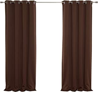 Best Home Fashion Premium Thermal Insulated Blackout Curtains - Stainless Steel Nickel Grommet Top - Chocolate - 52