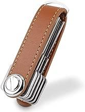 Compact Key Holder Leather Keychain, Bosiwee Smart Key Organizer, Folding Pocket Key Holder Chain2.0 (up to 16 keys)