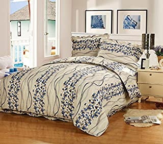 Newrara 3 Pieces Blue Color Bar Washing Patchwork Quiltbed Cover Set