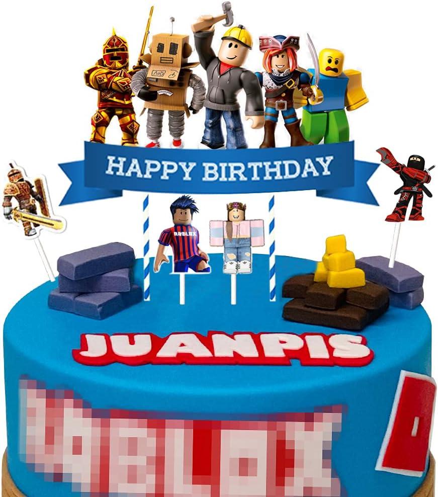 5 Robort quality assurance Blox Cake Toppers Sandbox Bulk Game for Cupcake service