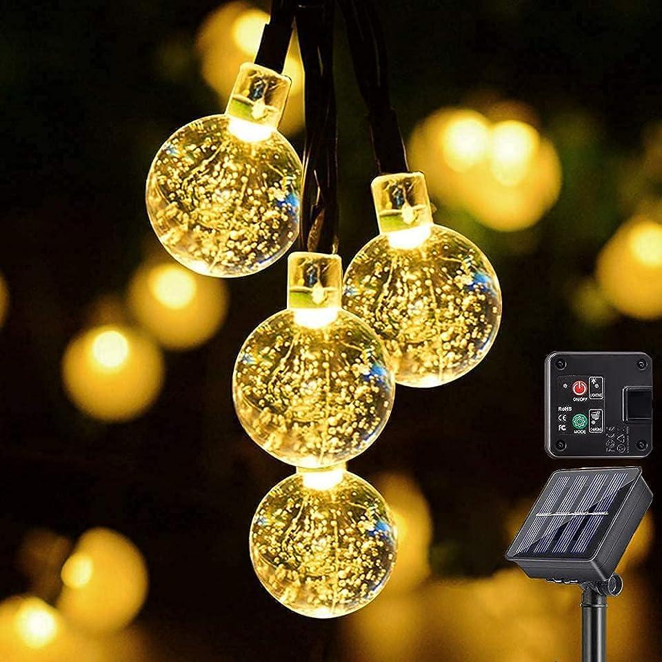 Solar Lichterkette, 6 Meter 60 warmweiße LEDs für Innen & Außen mit Kristallkugeln, wasserdichten Kupferdrähten für Zimmersdekorationen, Feste, Garten, Balkons, Partys, Hochzeiten, Kinder usw
