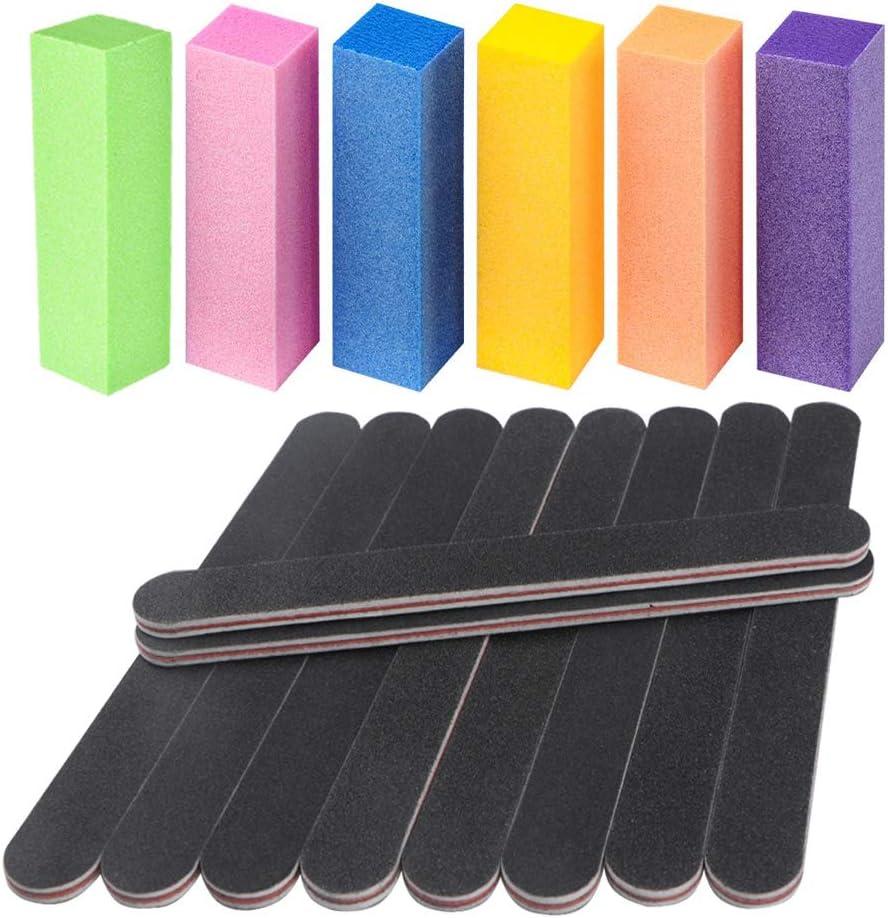 16 piezas de limas de uñas y kit de herramientas de manicura con bloque amortiguador de uñas, herramientas para el cuidado del arte, grano 100/180 de doble cara para dar forma y suavizar las uñas