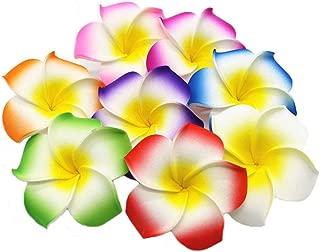 Pursuestar 100Pcs Mixed Colors Foam Hawaiian Frangipani Artificial Plumeria Flower Petals Cap Hair Hat Wreath Floral DIY Bridal Wedding Decoration 5cm