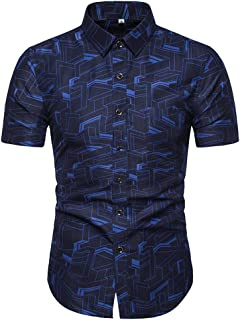 Men Short Sleeve Shirt Casual Fashion Slim Print Shirt Hawaiian Beach Shirt