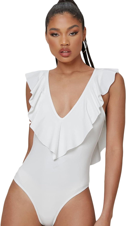 Milumia Women's Ruffle Deep V Neck Backless Sleeveless Tie Back Bodysuit Top