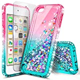 iPod Touch 7th /6th /5th Generation Case, iPod Touch 7/6/5 with Premium HD Screen Protector for Women Girls Kids, NageBee Glitter Sparkle Liquid Floating Waterfall Durable Cute Case -Pink/Aqua
