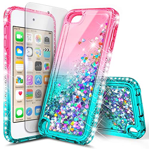 iPod Touch 7 Case, iPod Touch 5/6 Case with Premium HD Screen Protector for Girls, NageBee Glitter Sparkle Liquid Floating Durable Clear Cute Case for iPod Touch 7th/6th/5th Generation -Pink/Aqua