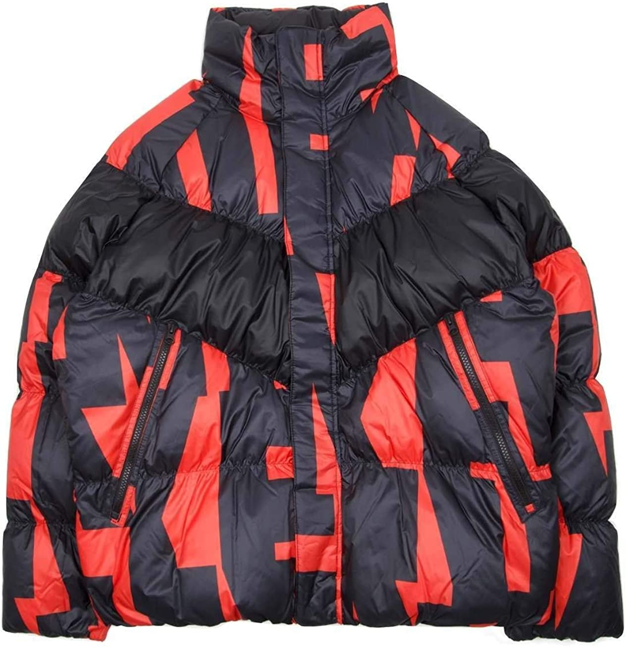 Nike Mens Down Fill Jacket Habanero Red/Black Print Size Large 928889-634