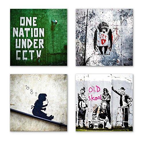 Banksy Bilder Set F, 4-teiliges Bilder-Set jedes Teil 29x29cm, Seidenmatte Optik auf Forex, Moderne schwebende Optik, UV-stabil, wasserfest, Kunstdruck für Büro, Wohnzimmer, XXL Deko Bild