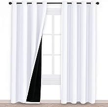 100٪ ستائر نافذة ستائر سوداء مع بطانة سوداء ، الحجم: W130cm x L241cm ، اللون: أبيض نقي
