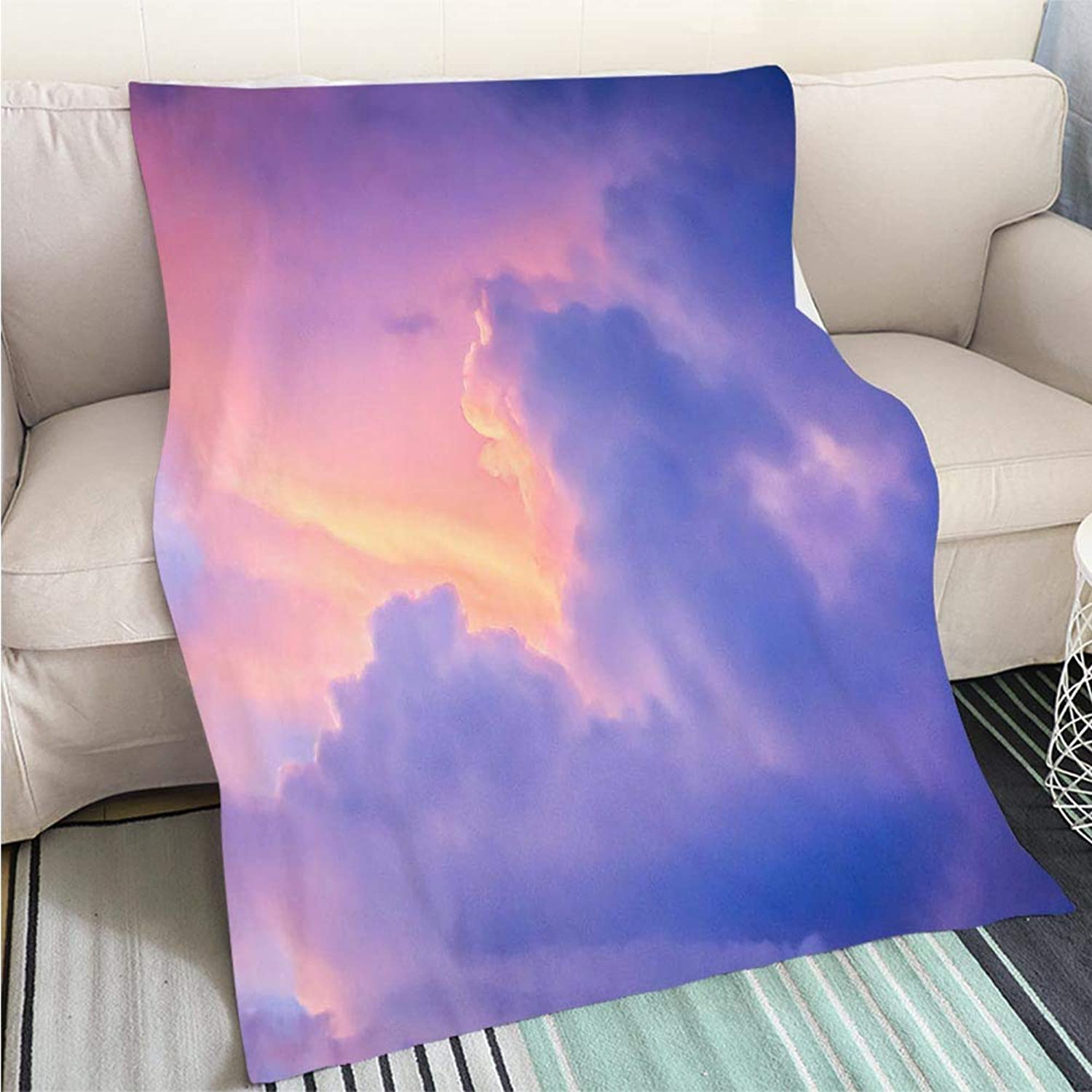 BEICICI Comforter Multicolor Bed or Couch Dramatic Sunset Sky with Varying Coloured Clouds Fun Design All-Season Blanket Bed or Couch