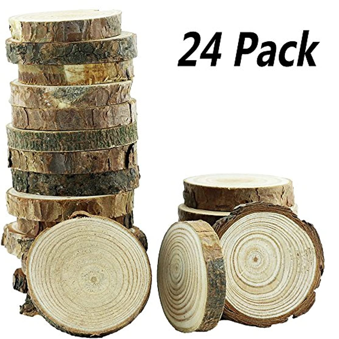 Yexpress 24Pcs 2-2.5-Inch Unfinished Natural Thick Wood Slices Circles with Tree Bark Log Discs for DIY Craft Christmas Rustic Wedding Ornaments