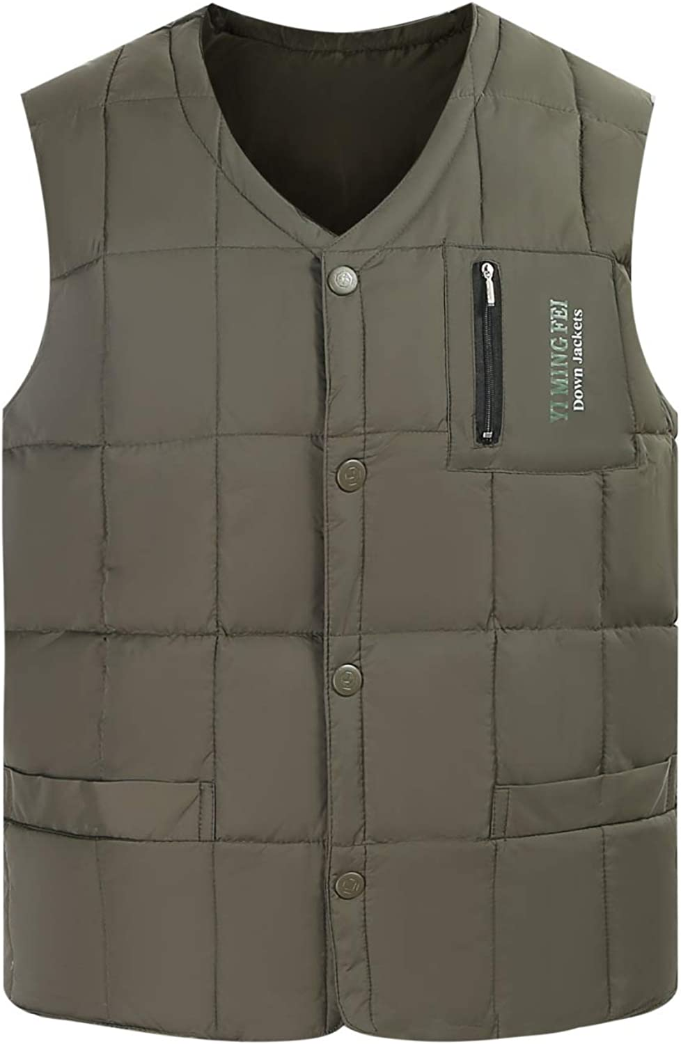 Men's Down Puffer Quilted Vest Outerwear Water-Resistant Polyester Lightweight Sleeveless Jacket for Outdoor Travel