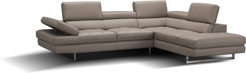 J and M Furniture A761 Italian Leather Sectional Slate Peanut