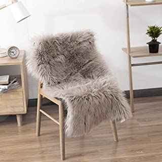LEEVAN Faux Fur Sheepskin Rug Super Soft Fluffy Chair Cover Couch Seat Shaggy Area Rug Bedroom Living Room Floor Mat Carpet - 2 ft x 3ft, Coffee