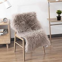 LEEVAN Rectangle Sheepskin Rug Supersoft Fluffy Area Rug Shaggy Silky Throw Rug Floor Mat Carpet Decoration (2 ft x 3 ft, ...