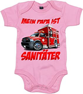 "Shirt Happenz Papa""s Beruf Ist SanitŠter Papi""s Kleiner Engel Berufung Babybody Babyeinteiler Oeko-TEX ¨ 100 Standard"