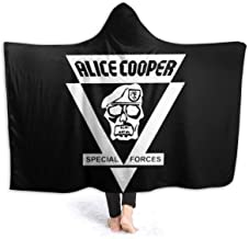 Ali-ce Coo-per Special Forces Soft Cozy Hooded Blanket,Warm Sherpa Plush Fleece Wearable Hood Throw Blankets for Adult Kids