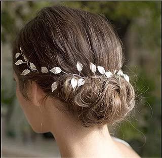 Catery Bride Wedding Headband Leaf Hair Vine Boho Bridal Hair Accessories for Women and Girls (Silver)