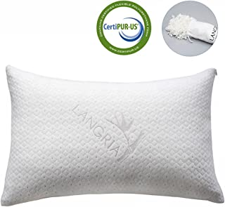 LANGRIA Luxury Bamboo Shredded Memory Foam Pillow with Zip Cover and Adjustable Sleeping Pillow CertiPUR-US Approved Foam Filling Breathable Odor-Free Washable, Queen