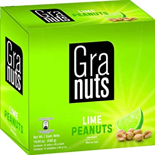 Granuts Lime Peanuts | Salty & Sour | On-the-Go Presentation | Display Pack | 1.76 Oz (Pack of 12)