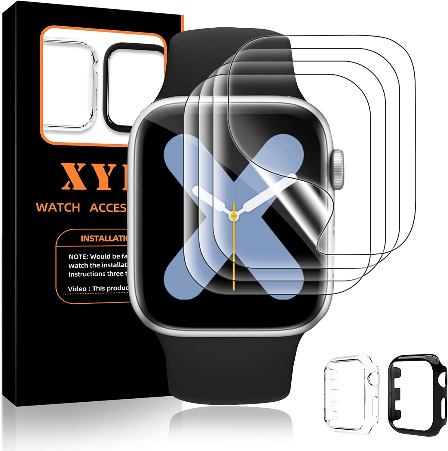 XYF Compatible for Apple Watch 38mm Screen Protector Series 3 2 1, [ 2 Bumper + 4 Screen Protectors ] Edge Protective Bumper Cases Cover with HD Soft iWatch Protector Films (Black+Clear, 38MM)