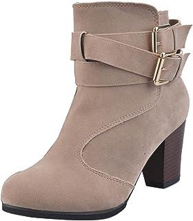 Gaorui Women's Buckle Strap Block Heel Ankle Booties Heeled Zipper Boots Wedge High Heels Platform Pump Lace Up