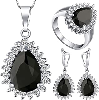 VPbao Plated 925 Sterling Silver CZ Drop Necklace Earrings Ring Jewellery Sets Black