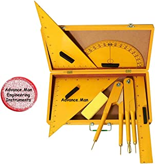 Advance.Man Engineering Wooden Geometry Box for Teachers – for Black Board and White Board – with Brass Fitting - for Schools, Classes and Any Teaching Purpose