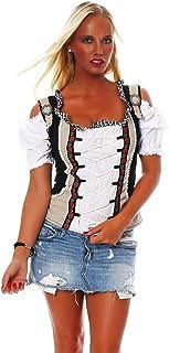 Fashion4Young Damen Dirndlbluse Bluse Trachtenbluse Trachten Oktoberfest Lederhose Trachtenmieder