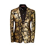 Men's luxury Casual Dress Suit Slim Fit Stylish Blazer Golden X-Large...