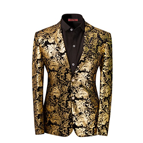 Men's luxury Casual Dress Suit Slim Fit Stylish Blazer Golden Large