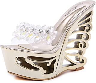 ca42c3ee496fc9 DANDANJIE Women s Transparent Slippers Summer Wedge Heel Sandals with  Shaped Hollow Heel for Pole Dance Shoes