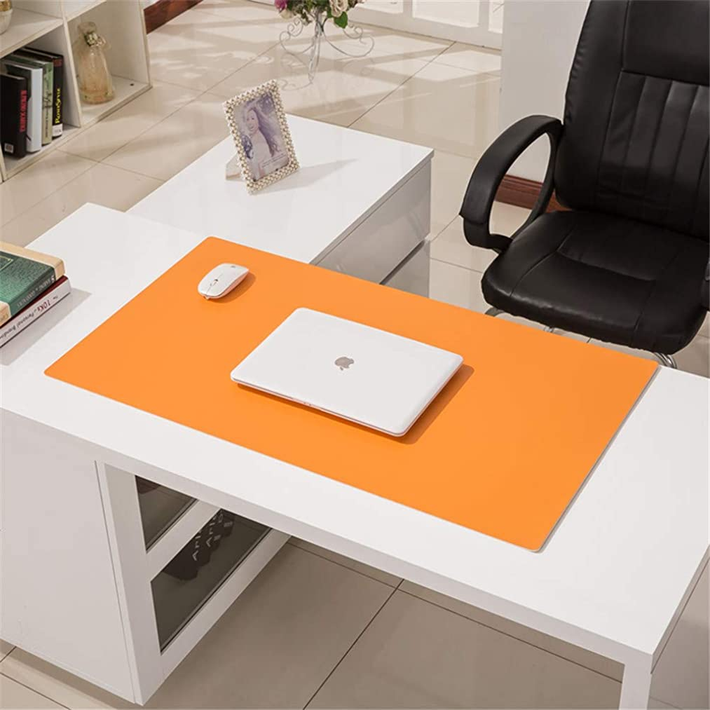 LL-COEUR Multifunctional Office Table Mat Leather Computer Desk Pad Waterproof Mouse Pad 3.5mm (Orange, 700 x 500 x 3.5 mm)