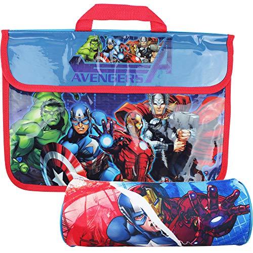 MARVEL Avengers Superheroes School Book Bag and Pencil Case Set