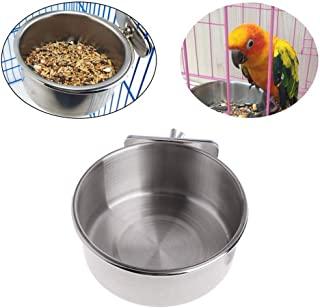 Pet Food & Water Bowl with Clamp Holder Stainless Steel Coop Cup Hanging Feeder for Dog Bird Parrot Cat Rabbit