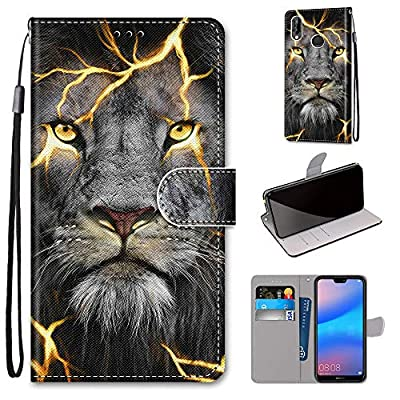 Miagon Full Body Case for Huawei Y6 2019,Colorful Pattern Design PU Leather Flip Wallet Case Cover with Magnetic Closure Stand Card Slot,Angry Lion
