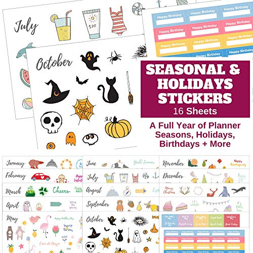 Seasons & Holidays Planner Stickers Value Pack - 16 Sheets, Cute Custom Scrapbook & Planner Stickers, Fun Supplies for Bullet Dotted Journals, Christmas, Easter, Halloween, Birthdays by Sunny Streak