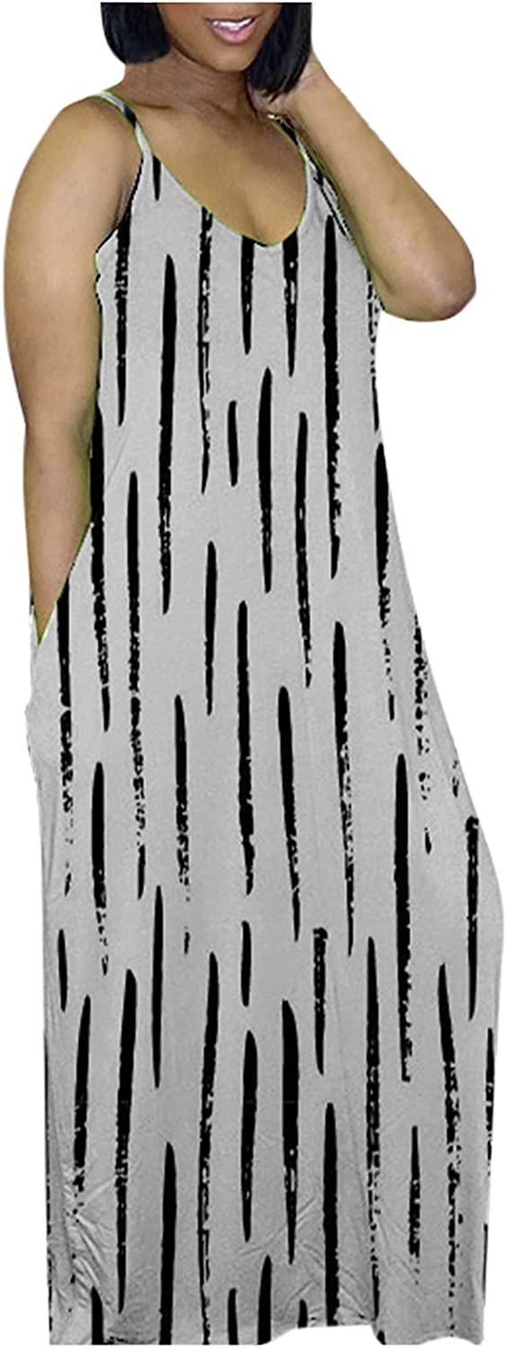 Womens Summer Dresses with Pocket f v-Neck Sale item Loose Spaghetti Strap 40% OFF Cheap Sale