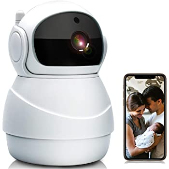 Jimwey Baby Monitor, WiFi IP Camera 1080P Wireless Security Camera Two Way Audio, Motion Detection and Cloud Storage Support 2.4G WiFi Night Vision Remote Surveillance Monitor for Home/Office/Shop
