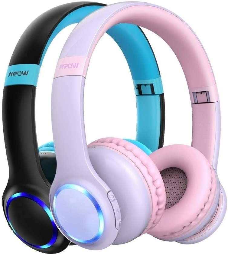 Bluetooth Kids Headphones Foldable Headset With Microphone LED Light 85dB Volume Limit For Children Boys Girls Teens (Color : Green Kids Headphone) Blue Kids Headphone